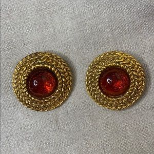 CHANEL Authentic Signed Amber Rope Earrings